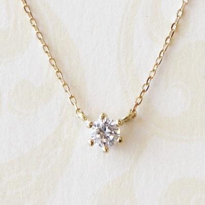18金ゴールド-華奢シンプルネックレス「リトルプリンセスダイヤモンド一粒ネックレス~固定式~」