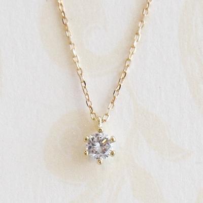 18金ゴールド-華奢シンプルネックレス「リトルプリンセスダイヤモンド一粒ネックレス~スルー式~」