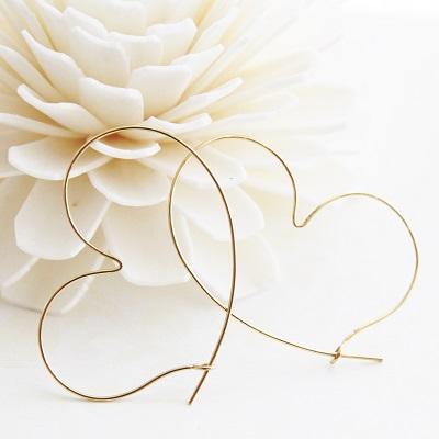 【送料無料】 K18 Duperey Wire heart hoop pierce (デュプレ― ワイヤー ハート フープ ピアス)