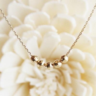 【送料無料】 K18 Duperey 5 mirror ball pendant necklace (デュプレ― 5 ミラーボール ペンダント ネックレス)