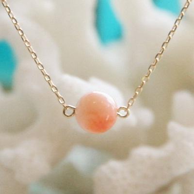 【送料無料】 K18 Peach pink coral pendant necklace (ピーチ ピンク サンゴ 一粒 ペンダント ネックレス)