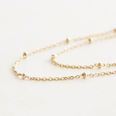 【送料無料】 K18 Duperey station chain necklace (デュプレ―ステーションチェーンネックレス) 40/45/50/60cm