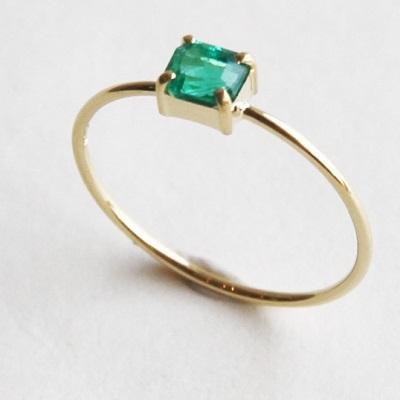 【送料無料】 K18 Only one Emerald ring/0.350ct/0.9mm幅  (オンリーワン エメラルド リング / 0.260ct / 0.9mm幅)