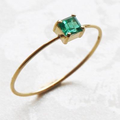 【送料無料】 K18 Only one Emerald ring/0.300ct/0.7mm幅  (オンリーワンエメラルドリング/0.300ct/0.7mm幅)