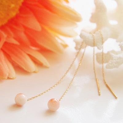 【送料無料】 K18 Peach pink coral american piierce (ルージュピンクサンゴアメリカンピアス)