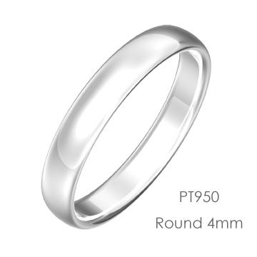Pt950 Round 甲丸4mm幅「マリッジリング結婚指輪」