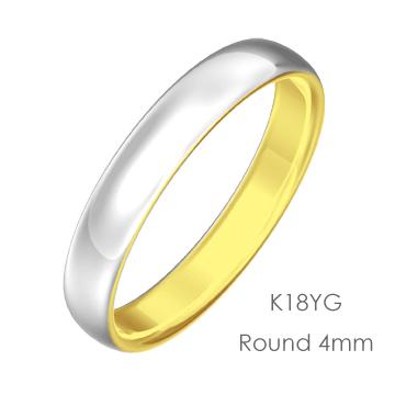 Pt950/K18 Round 甲丸4mm幅「マリッジリング結婚指輪」