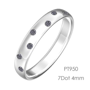 Pt950 Round 7Dot ドット甲丸4mm幅「マリッジリング結婚指輪」