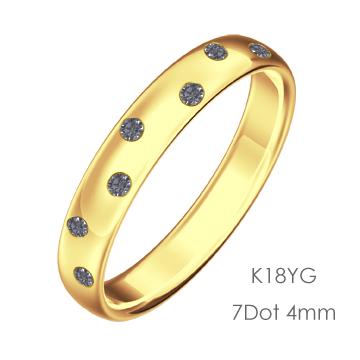 K18 Round 7Dot ドット甲丸4mm幅「マリッジリング結婚指輪」