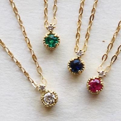 【送料無料】 K18 Reine precious stones necklace (レインプレシャスストーンネックレス)