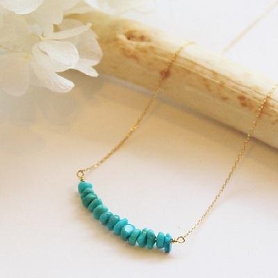 【送料無料】 K18 Riffle turquoise bar necklace (リフィルターコイズバーネックレス)