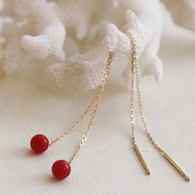 【送料無料】 K18 Rouge red coral american piierce (ルージュ レッド サンゴ アメリカンピアス)