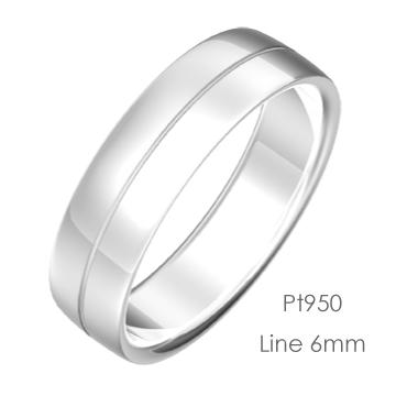 Pt950 Semiround 平甲丸ライン6mm幅「マリッジリング結婚指輪」