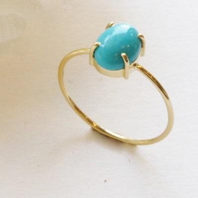 【送料無料】 K18 Only one Turquoise ring  (オンリーワン ターコイズ リング)