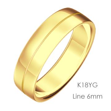 K18YG Semiround 平甲丸ライン6mm幅「マリッジリング結婚指輪」