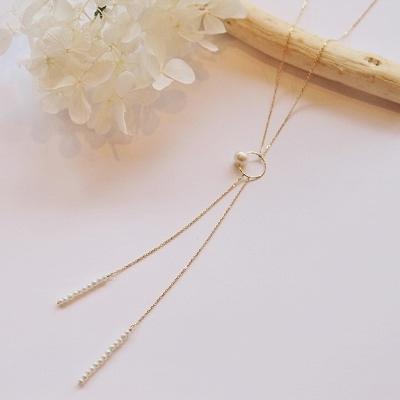 【送料無料】 K18 Neige waterpearl Y chain necklace (ネイジュ淡水パールYチェーンネックレス)