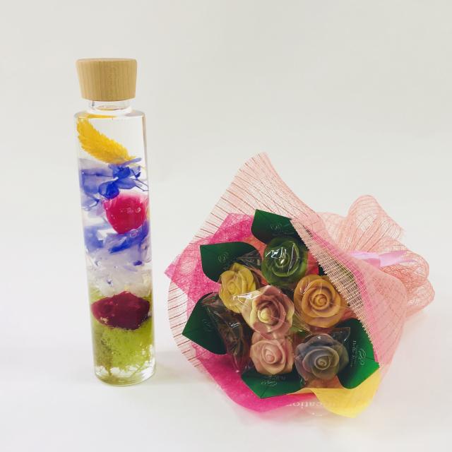 【NEW】バラのショコラブーケ7本とハーバリウムセット7