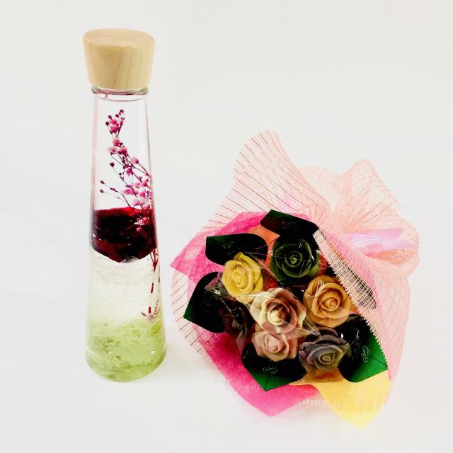 【NEW】バラのショコラブーケ7本とハーバリウムセット10