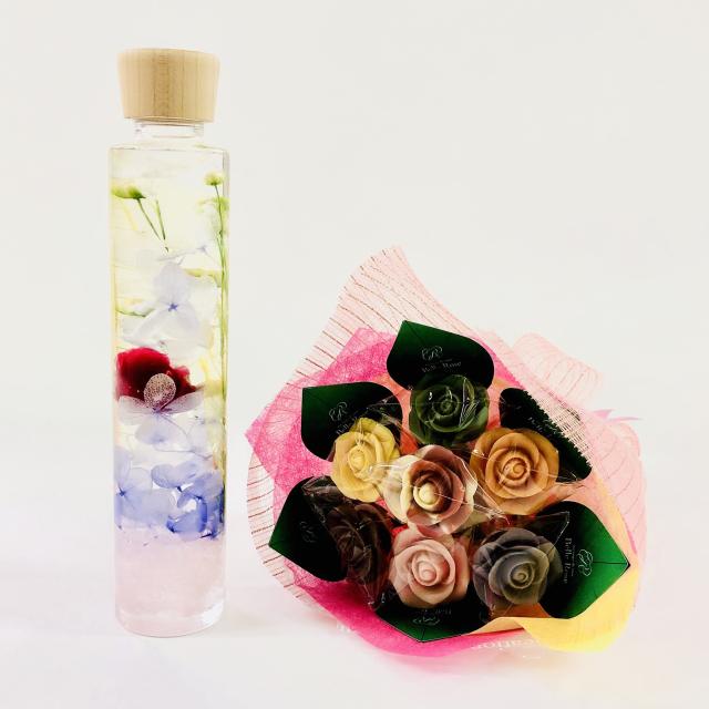 【NEW】バラのショコラブーケ7本とハーバリウムセット11
