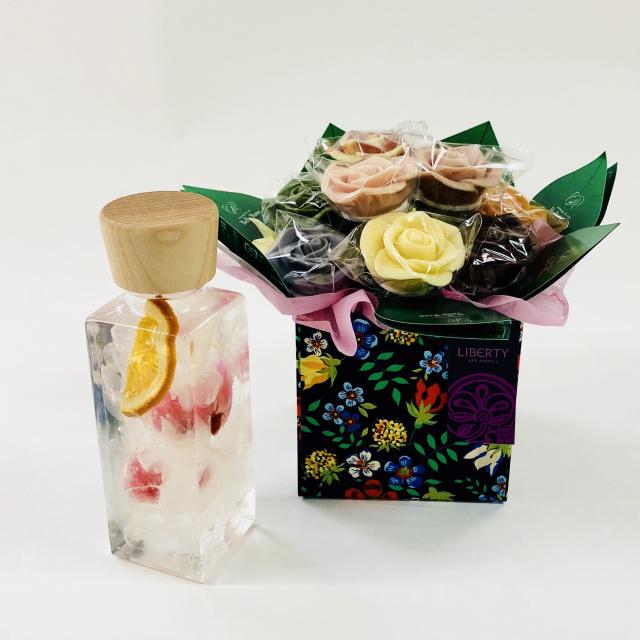 【限定商品】バラのショコラアレンジ10本とハーバリウムセット12