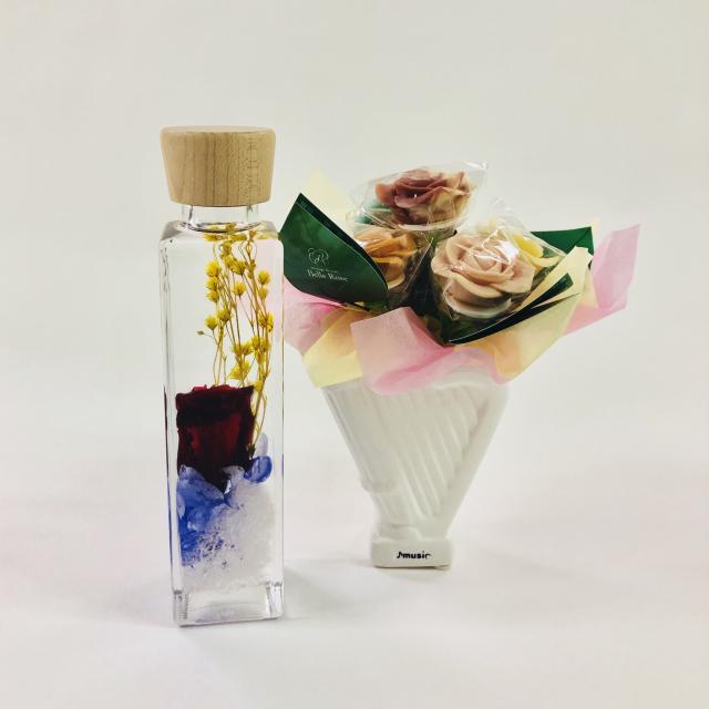 【限定商品】バラのショコラアレンジ5本とハーバリウムセット15