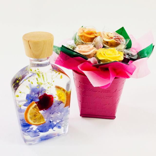 【限定商品】バラのショコラアレンジ8本とハーバリウムセット14