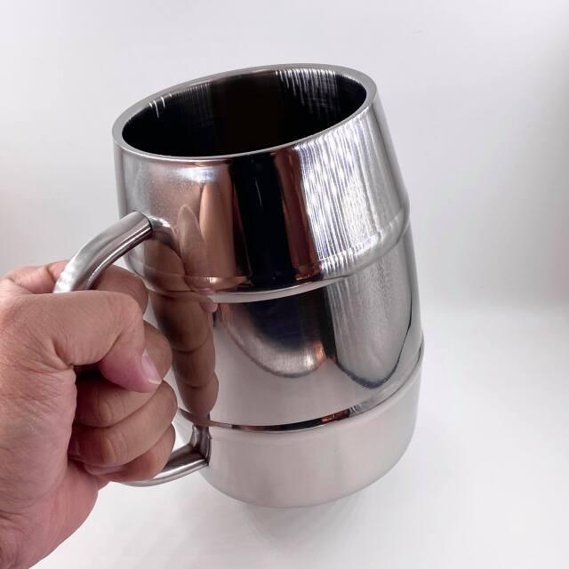ダブルステンレス 樽型メガジョッキ 1L