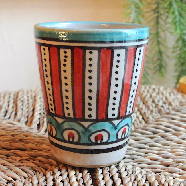 フェズ 陶器 コップ 赤
