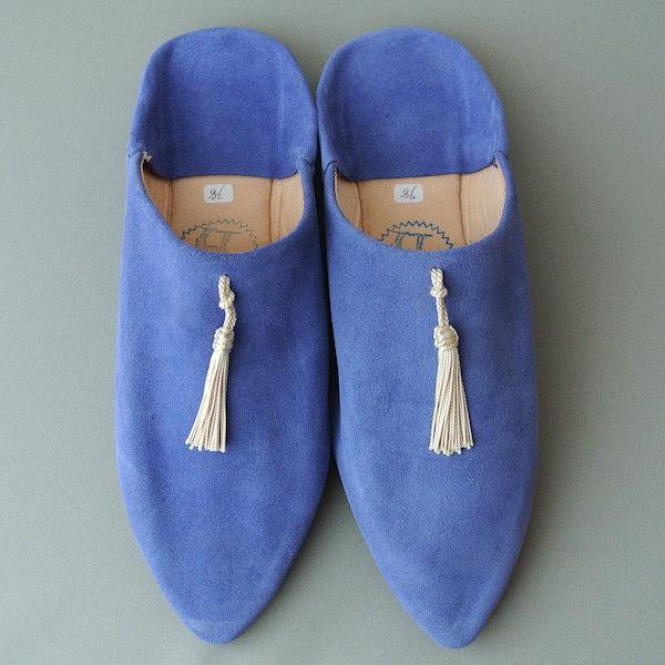 外履きバブーシュ 青紫