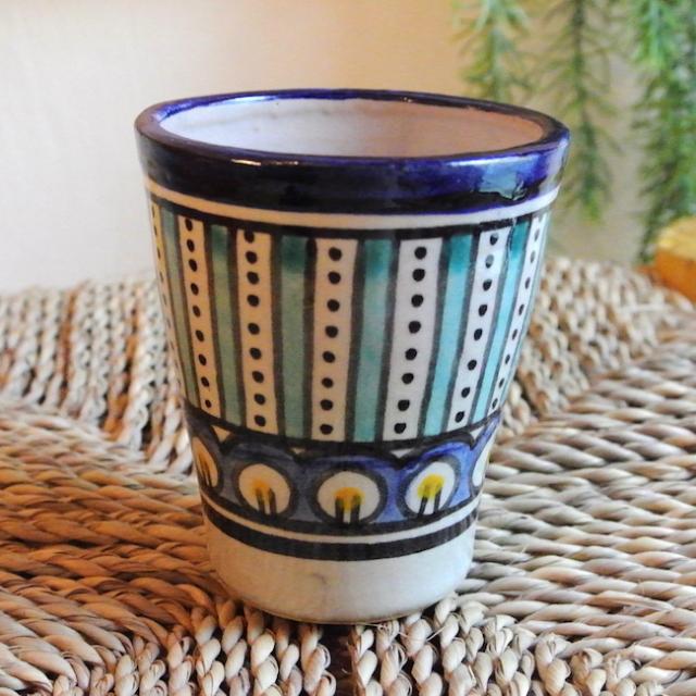 フェズ 陶器 コップ 青