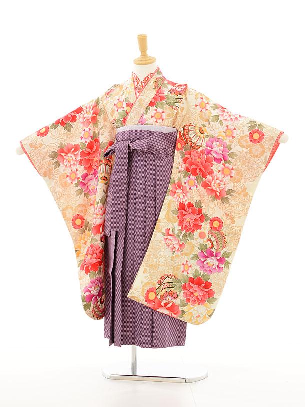 花夢二ベージュ×紫矢絣袴