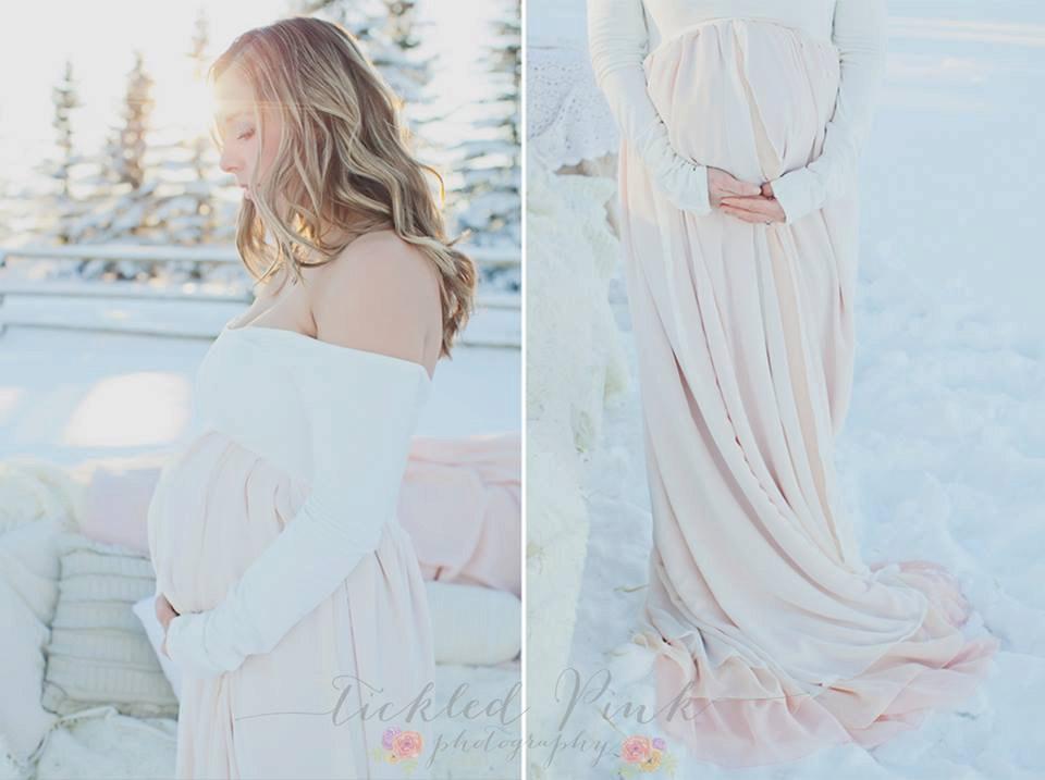 ジェネヴィーヴドレス●マルチレイヤーシフォンのマタニティドレス