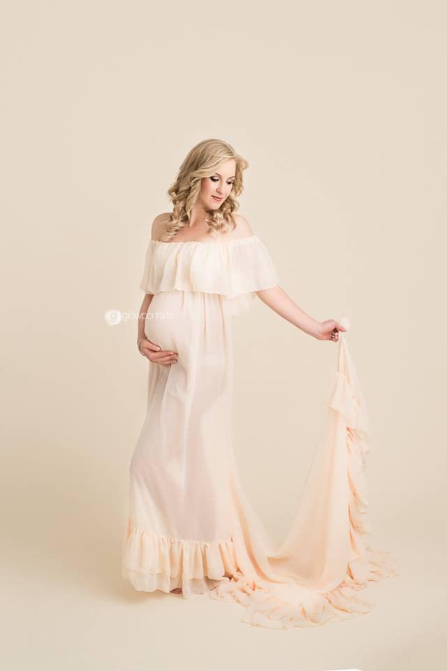ロビネットドレス●フリルトップのシアーマタニティドレス