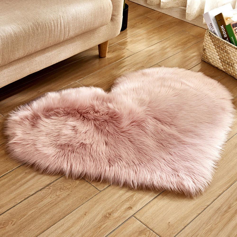 ハートの形の敷物ファー 双子ニューボーン40x50cm 6色 グレー・キャメル・アクア・ピンク・パープル・ターコイズ