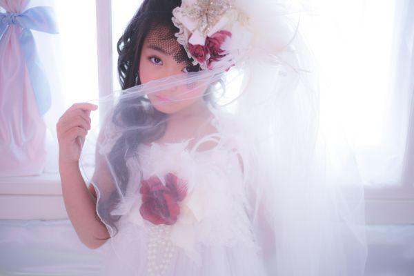 レンタルヘッドドレス ウェディングベールヘッドドレス☆ヘアクリップ2個付きこども花嫁様風♪七五三の洋装撮り・結婚式に!【2泊3日レンタル往復送料無料】