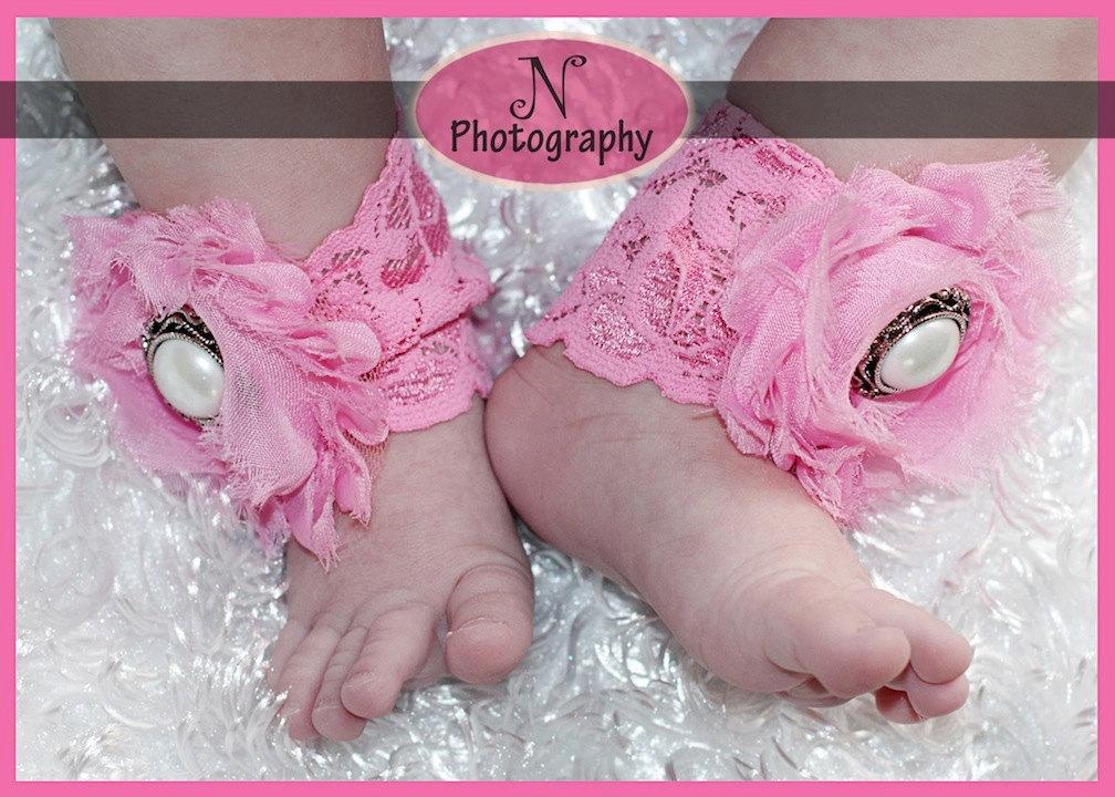 Newbornフォト★レースのお花とパールのアンクレット