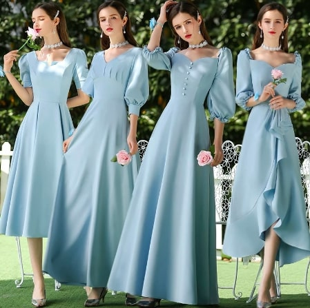 エレガントなvネック・パフスリーブのAラインウェディングパーティードレス ブライズメイドドレス <ブルー>