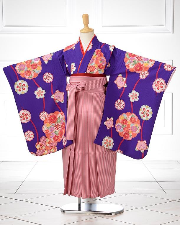 青紫地花柄