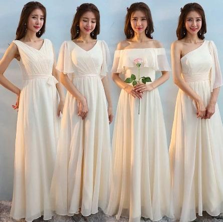 エレガントなシフォン素材のAラインウェディングパーティードレス ブライズメイドドレス <ホワイト>