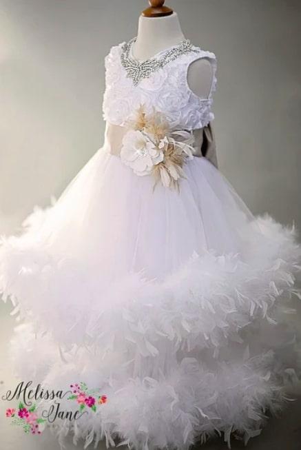 夢の天使の美しいホワイトフェザードレス「Dream Like a Angel White Exquisite Girls Feather Dress」4歳から10歳