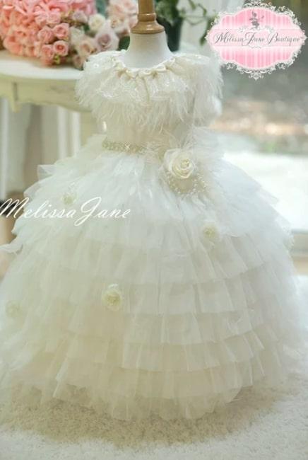 オーストリッチフェザーのプリンセスドレス「Couture Fairy Dream Girls Ostrich/Feather Layered Princess Dress」生後半年から14歳