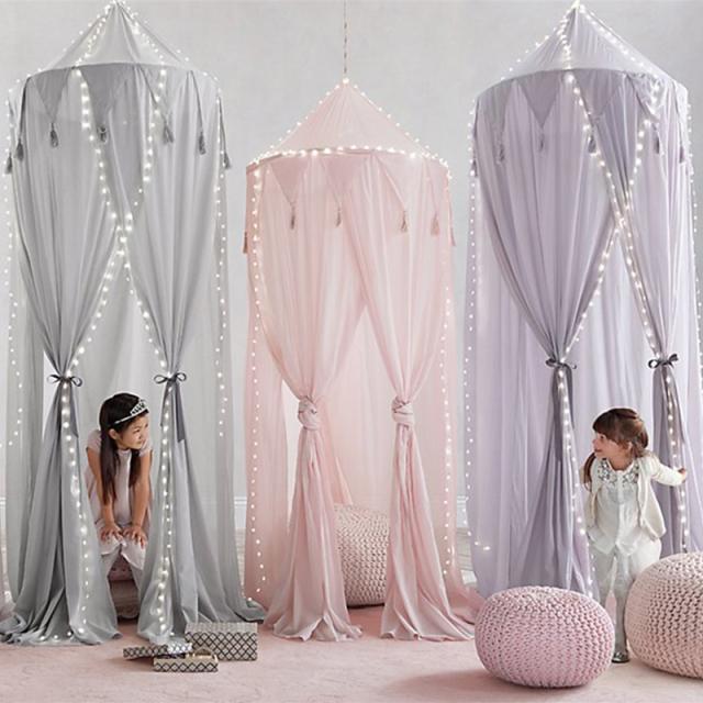 ベビーベッドキャノピーベッド蚊帳カーテン寝具ラウンドドームテント綿 ホワイト/ピンク/グレー