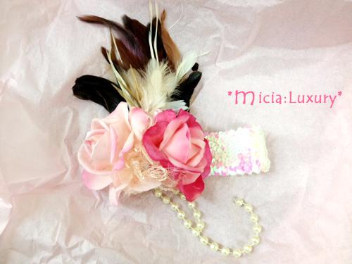 2つのローズとゴージャスファーのロングパールヘッドドレス☆「Little Lady」