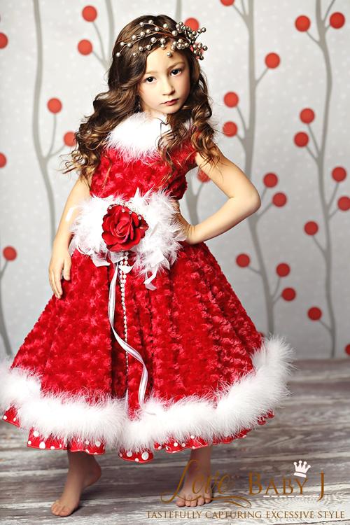 ミンクであったか&ゴージャス☆レッドドレス!1歳から10歳 採寸オーダーOK