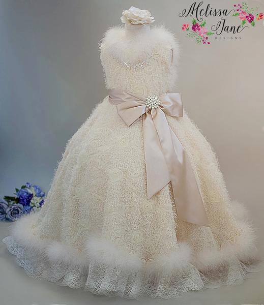 ミンクの3Dロゼットガールドレス「Girls Minky 3D Rosette Girl Dress」2歳から8歳
