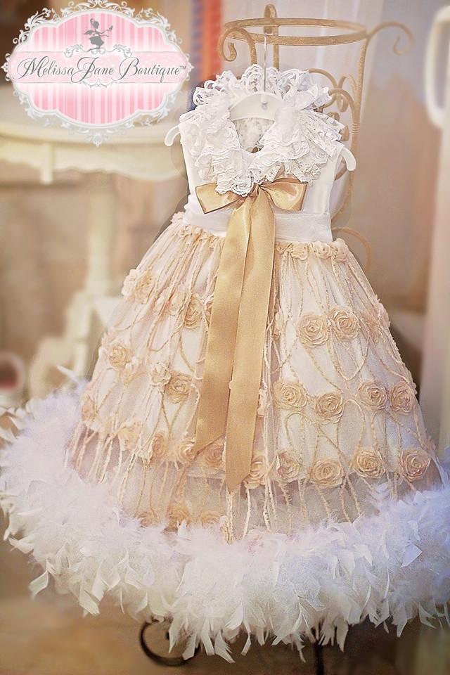 """マイサンシャインフェザードレス「Exquisite Little Mini """"My Sunshine Feather Dress"""" - Flower girl Dress」0歳から2歳"""