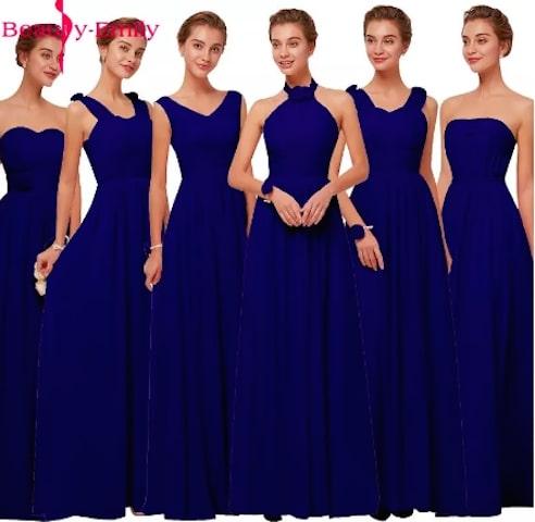 シフォン素材 Aラインのノースリーブパーティードレス ブライズメイドドレス<Navy/Pink>