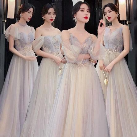 エレガントで光沢のあるバックレス・オフショルダーパーティードレス ブライズメイドドレス