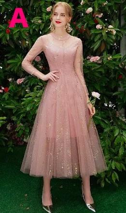 美しいレースのAラインウェディングパーティードレス ブライズメイドドレス <ピンク>
