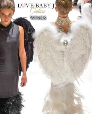 クリスタルスワロフスキー付き☆天使の羽 <ホワイト/ブラック> エンジェルフェザーウィングス